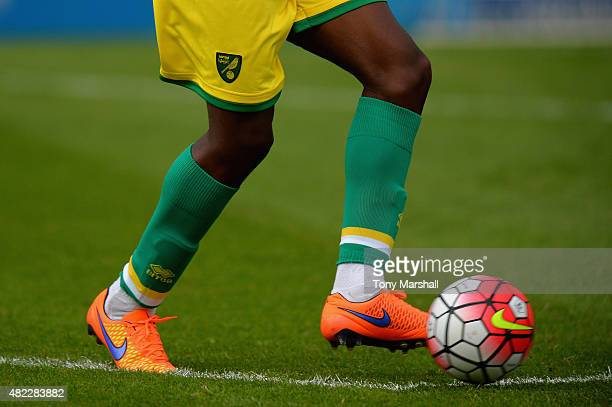 The new Nike football during the Pre Season Friendly match between Lincoln City v Norwich City at Sincil Bank Stadium on July 29 2015 in Lincoln...