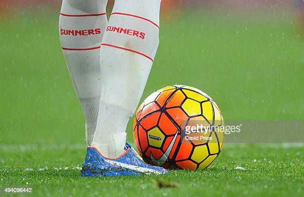 The new Nike Winter Ball and Santi Cazorla of Arsenal football boots during the Barclays Premier League match between Arsenal and Everton at Emirates...