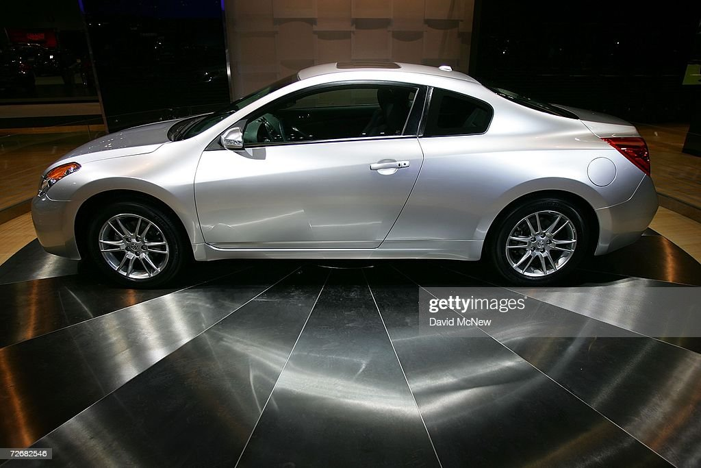 The new Nissan Altima is displayed during Media Days preview at the 100th annual Los Angeles Auto Show in the Los Angeles Convention Center on...