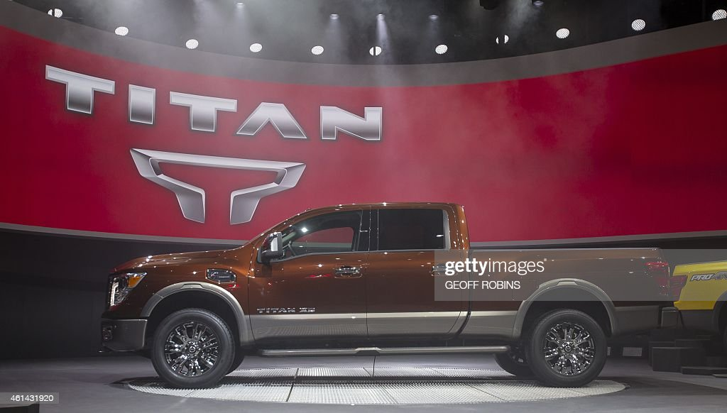 The new Nissan Titan is introduced at the 2015 North American International Auto Show in Detroit Michigan January 12 2015 AFP PHOTO/GEOFF ROBINS