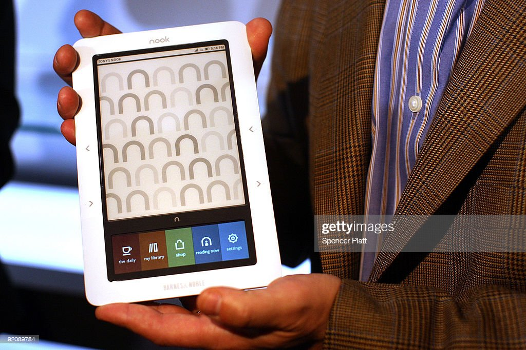The new 'nook' digital reader is displayed at a launching October 20, 2009 in New York City. The 'nook' is a wireless reader which will be available on Barnes & Noble's Web site and in stores and is currently available for 'pre-order' for $259. The 'nook' is less than 5 inches wide and 8 inches tall and weighs 11.2 ounces. At $259 it will be the same price as the recently reduced Kindle by Amazon.