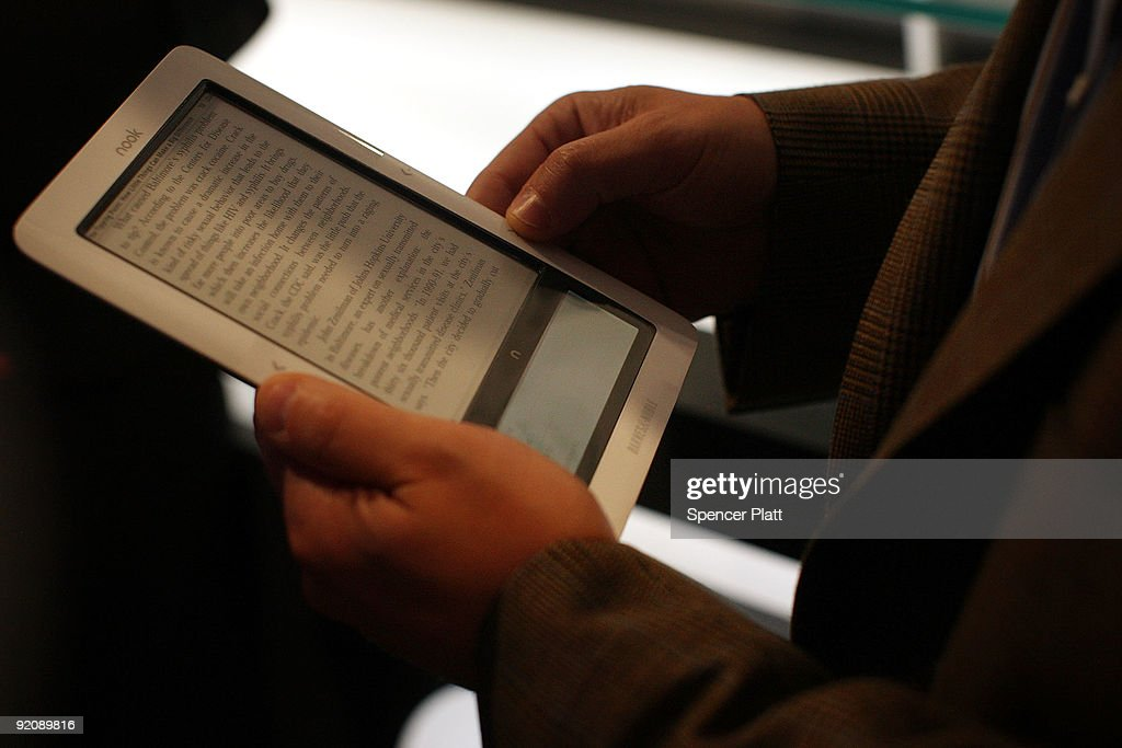The new 'nook' digital reader is displayed at a launching October 20 2009 in New York City The 'nook' is a wireless reader which will be available on...