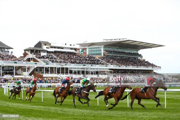 The New One ridden by Sam TwistonDavies leads the race during the Randox Health Grand National Festival at Aintree Racecourse on April 6 2017 in...