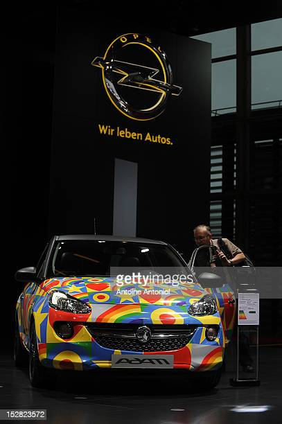 The new Opel Adam car sits on display at the Paris Auto Show on September 27 2012 in Paris France Opel which has been owned by General Motors since...