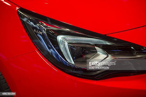 The new Opel Astra car is displayed at a press day of the 66th IAA auto show in Frankfurt am Main western Germany on September 15 2015 AFP PHOTO /...