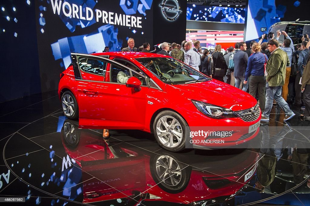 The new Opel Astra is displayed at at the 66th IAA auto show in Frankfurt am Main western Germany on September 15 2015 Hundreds of thousands of...