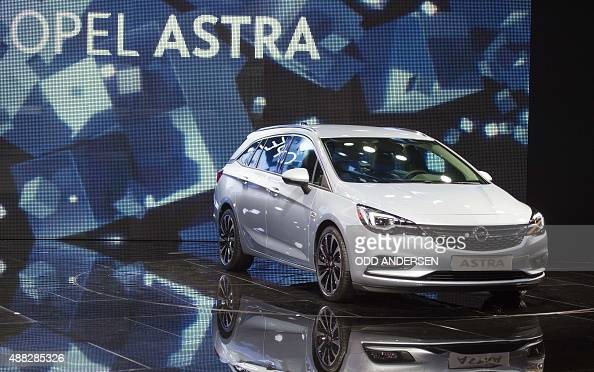 The new Opel Astra is displayed at the 66th IAA auto show in Frankfurt am Main western Germany on September 15 2015 Hundreds of thousands of visitors...