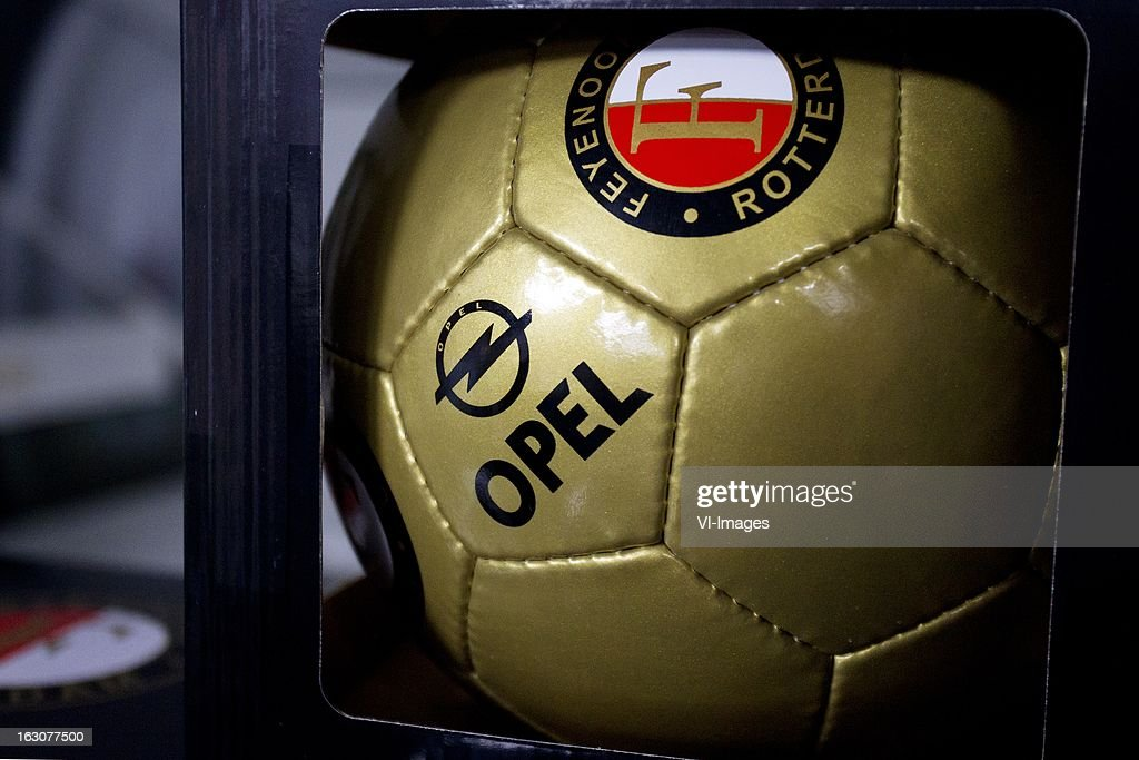 The new Opel ball during the new sponsor presentation of Feyenoord at stadium De Kuip on march 4, 2013 in Rotterdam, The Netherlands