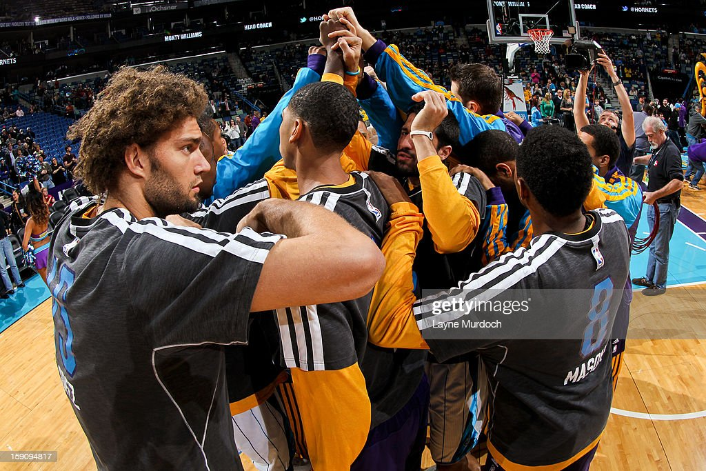 The New Orleans Hornets huddle up before playing against the San Antonio Spurs on January 7, 2013 at the New Orleans Arena in New Orleans, Louisiana.