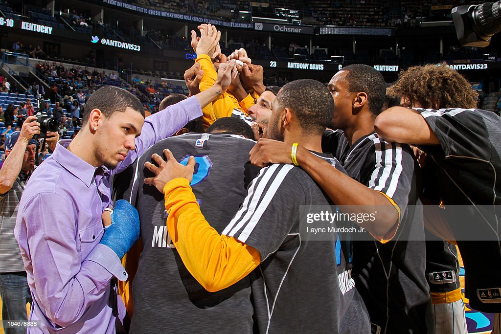 The New Orleans Hornets huddle up before playing the Golden State Warriors on March 18, 2013 at the New Orleans Arena in New Orleans, Louisiana.