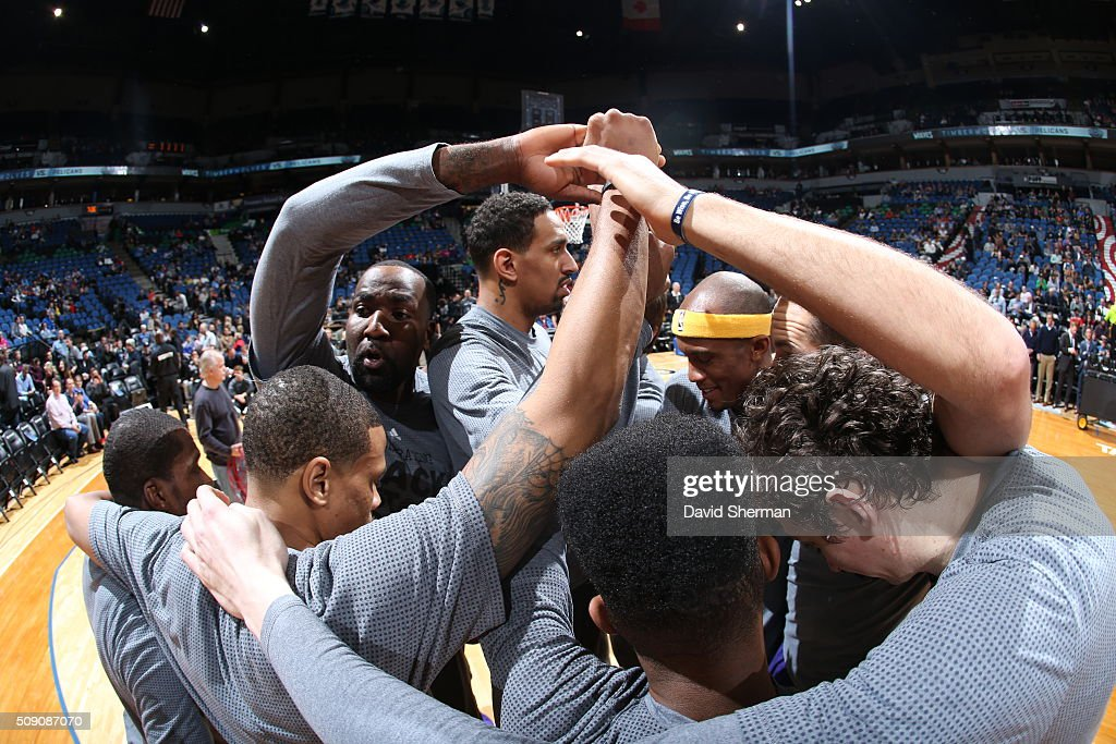 The New Orleans Pelicans huddle before the game against the Minnesota Timberwolves on February 8, 2016 at Target Center in Minneapolis, Minnesota.
