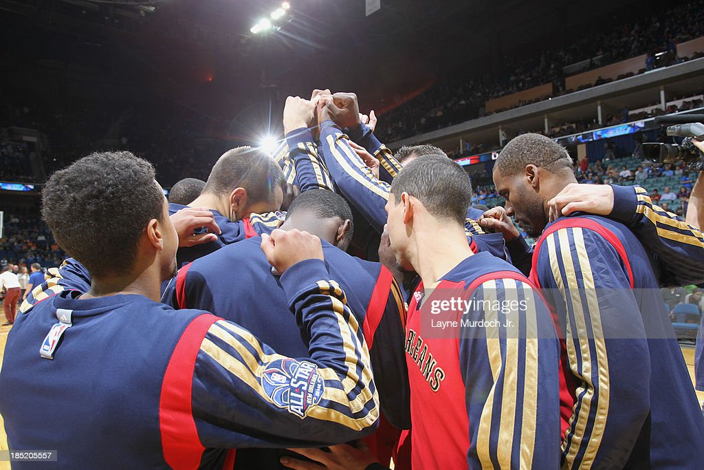 The New Orleans Pelicans huddle before the game against the Oklahoma City Thunder on October 17, 2013 at the BOK Center in Tulsa, Oklahoma.