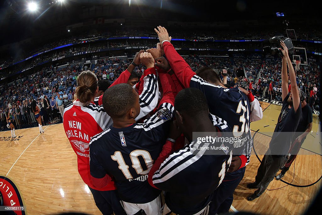 The New Orleans Pelicans huddle up before the game against the Philadelphia 76ers on November 16, 2013 at the New Orleans Arena in New Orleans, Louisiana.