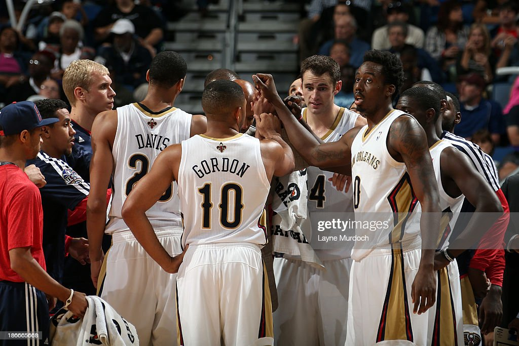 The New Orleans Pelicans huddle up during the game against the Charlotte Bobcats on November 2, 2013 at the New Orleans Arena in New Orleans, Louisiana.
