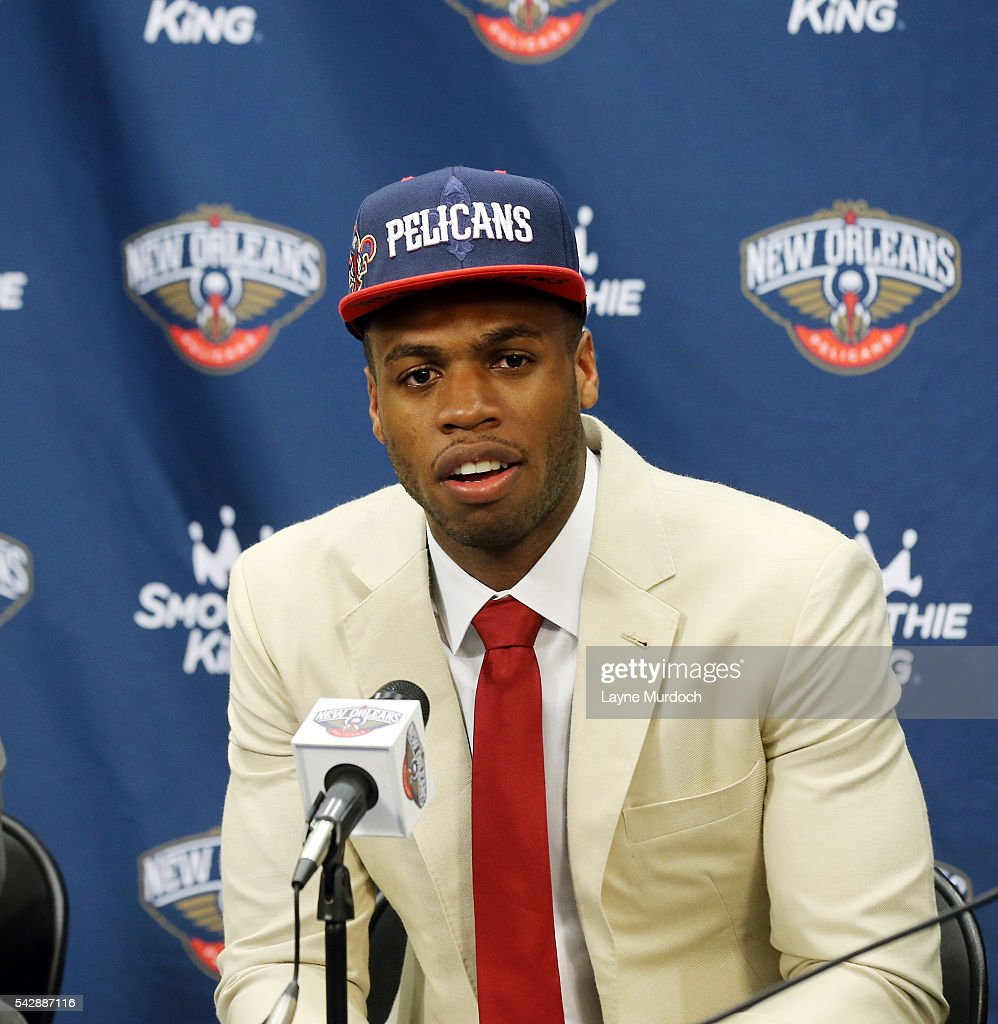 The New Orleans Pelicans introduce the team's 2016 Draft selection <a gi-track='captionPersonalityLinkClicked' href=/galleries/search?phrase=Buddy+Hield&family=editorial&specificpeople=9988395 ng-click='$event.stopPropagation()'>Buddy Hield</a> on June 24, 2016 at the New Orleans Practice Facility in New Orleans, Louisiana.