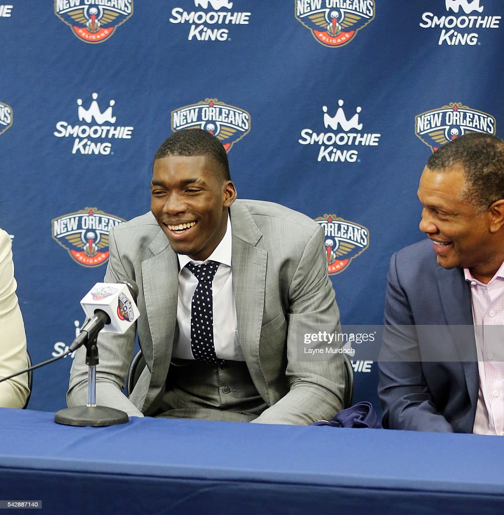 The New Orleans Pelicans introduce the team's 2016 Draft selection <a gi-track='captionPersonalityLinkClicked' href=/galleries/search?phrase=Cheick+Diallo+-+Basketball+Player&family=editorial&specificpeople=14242656 ng-click='$event.stopPropagation()'>Cheick Diallo</a> on June 24, 2016 at the New Orleans Practice Facility in New Orleans, Louisiana.