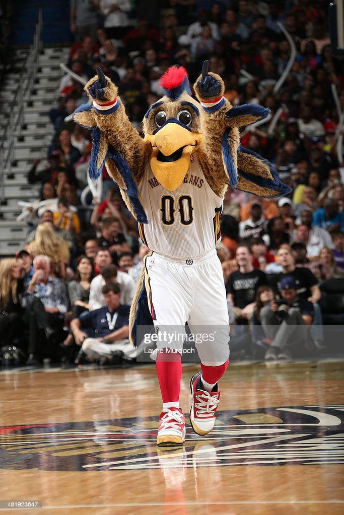 The New Orleans Pelicans mascot performs during the game against the Miami Heat on March 22, 2014 at the Smoothie King Center in New Orleans, Louisiana.
