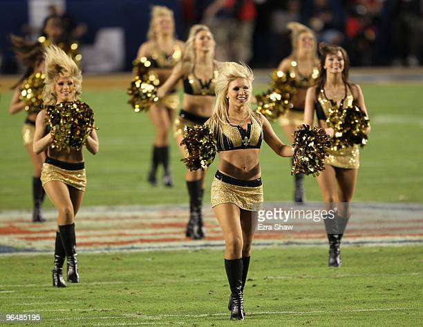 The New Orleans Saints cheerleaders on the field during Super Bowl XLIV on February 7 2010 at Sun Life Stadium in Miami Gardens Florida