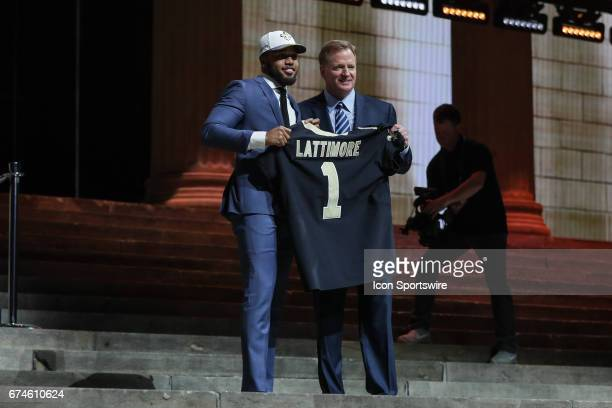 The New Orleans Saints select Marshon Lattimore from Ohio State wth the 11th pick at the 2017 NFL Draft and he poses with NFL Commissioner Roger...