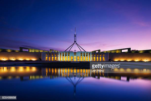 The New Parliament House at dusk