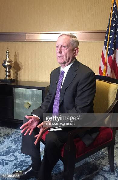 US Defence Secretary Jim Mattis speaks to reporters at a hotel in Abu Dhabi during his first trip to the region as Pentagon chief on February 19 2017...