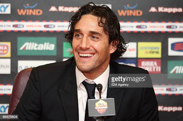 The new player of AS Roma Luca Toni smiles during the press conference before the Friendly Match between Cisco and Roma at Stadio Flaminio on January...
