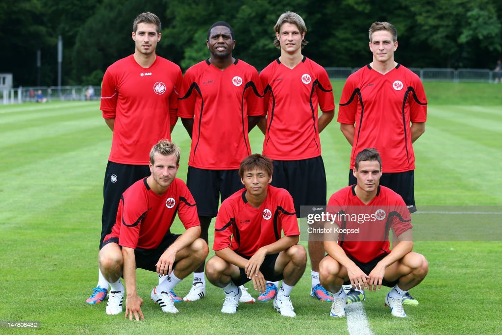 The new players (from L-R from upper row) with Kevin Trapp, Olivier Occean, Martin Lanig, Bastian Oczipka, (from L-R down row) Stefan Aigner, Takashi Inui and Stefano Celozzi pose after the training session of Eintracht Frankfurt at the training ground at Commerzbank Arena on July 3, 2012 in Frankfurt am Main, Germany.