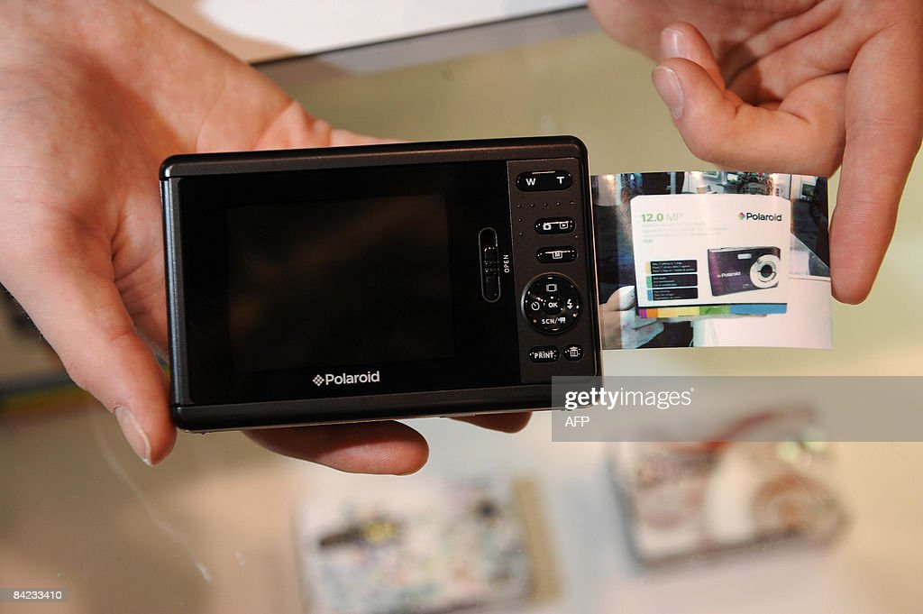 The new Polaroid PoGo Instant digital camera with an intergrated printer is on display at the Polaroid booth at the 2009 Consumer Electronics Show in Las Vegas, Nevada on January 9, 2009. Polaroid announces the launch of the Pogo on January 8, calling it 'the digital version of our traditional instant camera, which consumers have loved since the 70s.'