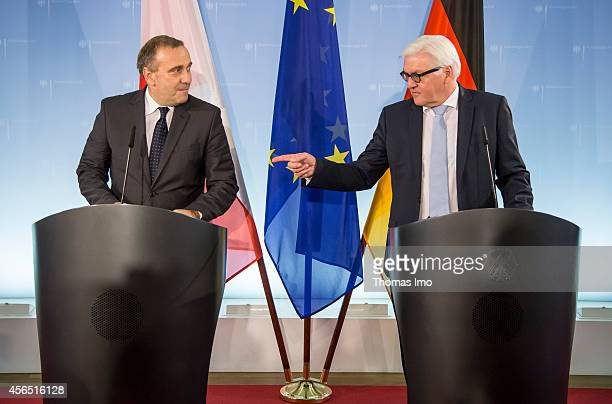 The new Polish Minister of Foreign Affairs Grzegorz Schetyna and German Foreign Minister FrankWalter Steinmeier attend a joint press conference after...