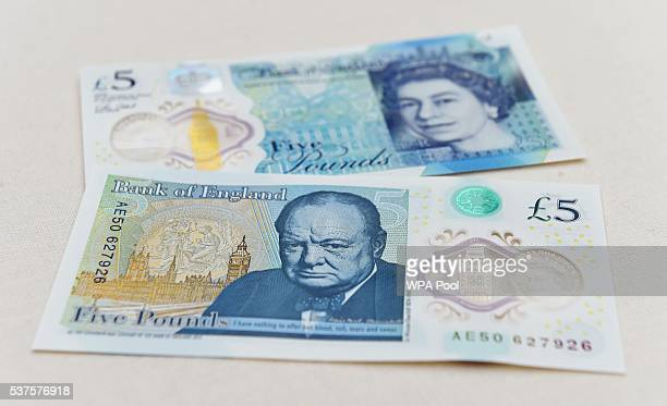 The new polymer £5 note featuring Sir Winston Churchill is unveiled at Blenheim Palace on June 2 2016 in Woodstock England The new fiver will be...
