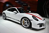 The new Porsche 911 R car model is displayed at the stand of the German carmaker during the press day of the Geneva Motor Show on March 2 2016 in...