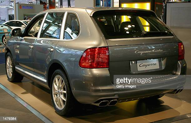 The new Porsche Cayenne Turbo is displayed at the Sydney International Motor Show on October 17 2002 in Sydney Australia The Cayenne Turbo produces...