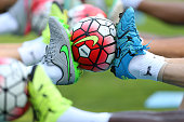 The new premier league balls get used by Leicester City during a training session at their preseason training camp on July 16 2015 in Bad Radkersburg...