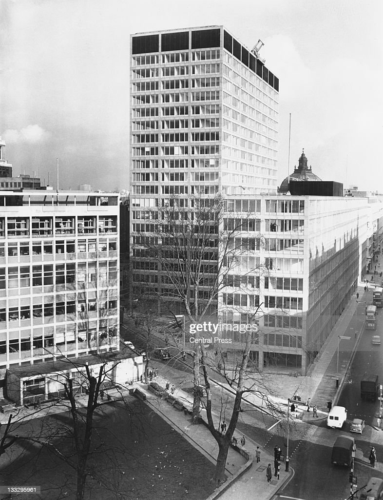 The new premises of New Scotland Yard at 10 Broadway Westminster London seen from Victoria Street February 1967