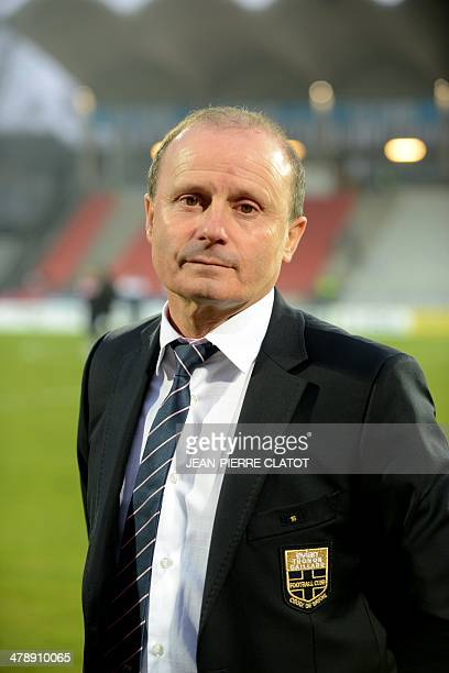 The new president of EvianThonon Gaillard football club Joel Lopez looks on prior to the French L1 football match Evian vs Valenciennes on March 15...