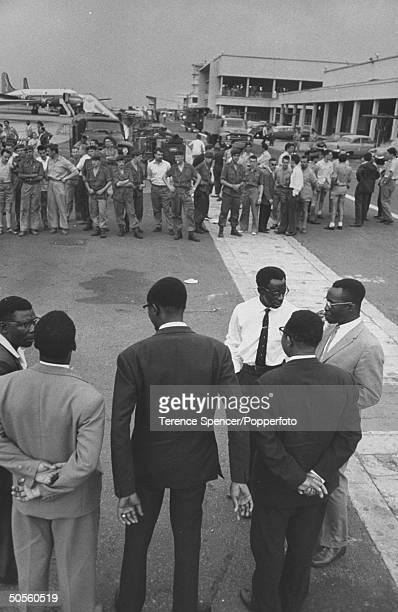 The new Prime Min of the Congo Patrice Lumumba is challenged by angry Belgians