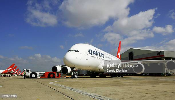 The new Qantas A380 flagship the 'NancyBird Walton' the first commercial A380 to join the Qantas fleet arrives on the tarmac at Sydney Domestic...