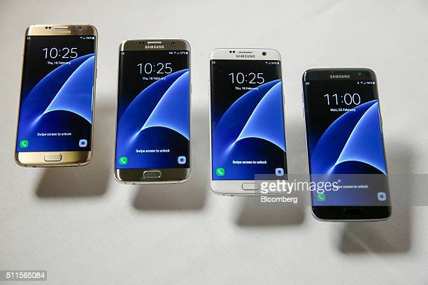 The new range of Samsung Electronics Co Galaxy S7 edge with 3D thermo forming in four finishes left to right Gold Platinum Silver Titanium White...