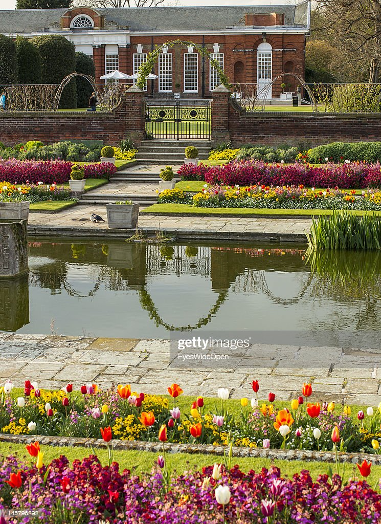 The new recreation area with ponds and flowers in front of Kensington Palace at Kensington Gardens on April 15 2012 in London England United Kingdom