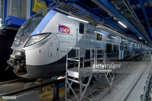 The new Regio 2N Bombardier of the R line is presented at the SNCF technicentre in VilleneuveSaintGeorges near Paris on October 19 2017 The Regio 2N...