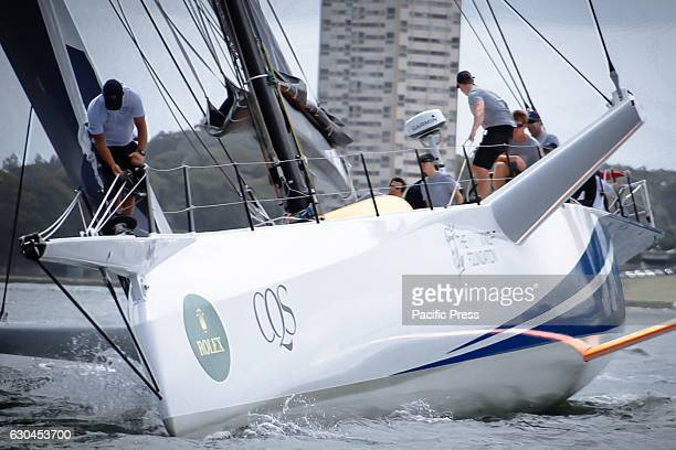 The new reverse bow and a long bowsprit pictured on100ft maxi racing yacht CQS ahead of the start of the Rolex Sydney Hobart Yacht Race