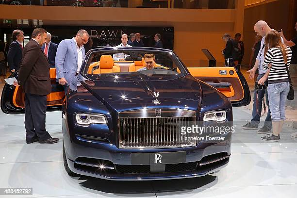 The new Rolls Royce Dawn stands at the Rolls Royce stand at the 2015 IAA Frankfurt Auto Show during a press day on September 16 2015 in Frankfurt...