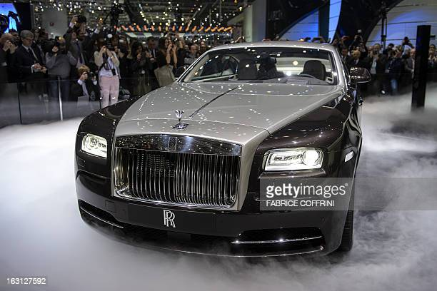 The new Rolls Royce the Wraith model car is presented in world premiere at the British car maker's booth on March 5 2013 on the press day of the...