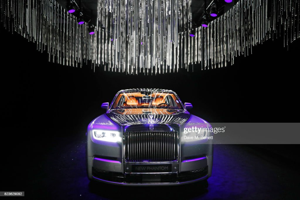 The new Rolls-Royce Phantom is unveiled at the world premiere of the 'The Great Eight Phantoms - A Rolls-Royce Exhibition' at Bonhams on July 27, 2017 in London, England.
