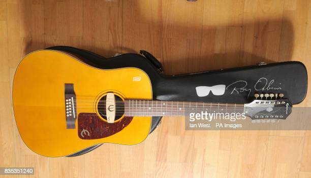 The new Roy Orbison Limited Edition Epiphone 'Pretty Woman' 12 string acoustic guitar at the Gibson Guitar Studio in London