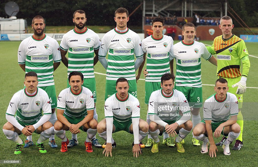 The New Saints team group before the UEFA Champions League First Round Qualifier match between The New Saints and SP Tre Penne at Park Hall on June 28, 2016 in Oswestry, England.