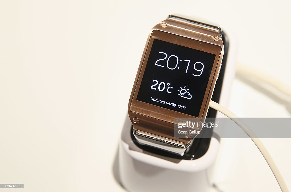 The new Samsung Galaxy Gear smart watch lies on a table at the Samsung Unpacked 2013 Episode 2 at Tempodrom on September 4 2013 in Berlin Germany...