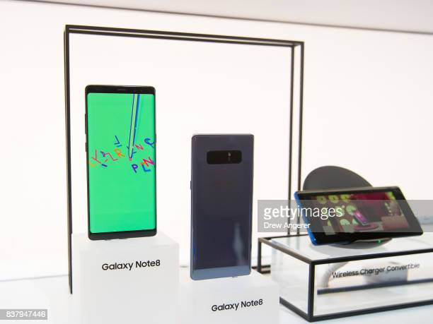 The new Samsung Galaxy Note8 smartphone is displayed during a launch event August 23 2017 in New York City The Galaxy Note8 will be released in...