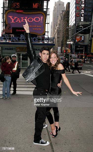 The new Sandy and Danny from the Broadway production of 'Grease' actors Max Crumm and Laura Osnes make an appearance in Times Square on March 27 2007...