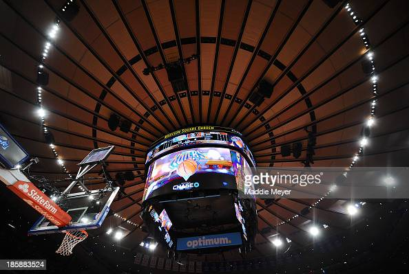 The new score board hangs from the ceiling during the preseason game between the New York Knicks and the Charlotte Bobcats at Madison Square Garden...